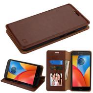 Book-Style Leather Folio Case for Motorola Moto E4 Plus - Brown