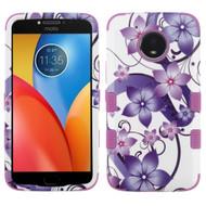 Military Grade Certified TUFF Image Hybrid Armor Case for Motorola Moto E4 Plus - Purple Hibiscus Flower Romance