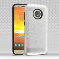 Leather Texture Anti-Shock Hybrid Protection Case for Motorola Moto E5 Play / E5 Cruise - Silver