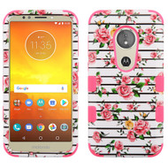 Military Grade Certified TUFF Hybrid Armor Case for Motorola Moto E5 Play / E5 Cruise -  Pink Fresh Roses