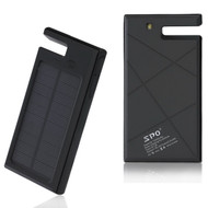 *Sale* 10000mAh Solar Powered Water Resistant Battery Charger Power Bank Dual USB Ports - Black
