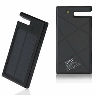 10000mAh Solar Powered Water Resistant Battery Charger Power Bank Dual USB Ports - Black