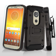 3-IN-1 Kinetic Hybrid Armor Case with Holster and Tempered Glass Protector for Motorola Moto E5 Play / E5 Cruise - Grey