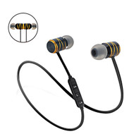 Metal Magnetic Absorbing Bluetooth V4.1 Wireless Headphones with Noise Reduction Microphone - Black Gold