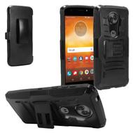 Advanced Armor Hybrid Kickstand Case + Holster + Tempered Glass Screen Protector for Motorola Moto E5 Plus - Black
