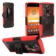 Advanced Armor Hybrid Kickstand Case + Holster + Tempered Glass Screen Protector for Motorola Moto E5 Plus - Red