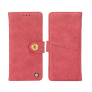 Faux Suede Leather Wallet with Detachable Magnetic Case for Motorola Moto E4 Plus - Red