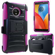 Advanced Armor Hybrid Kickstand Case with Holster for Motorola Moto E4 Plus - Hot Pink