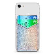 Adhesive Dual Slot Leather Card Pocket Pouch - Holographic Silver
