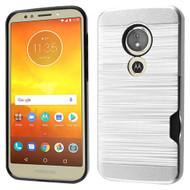 ID Card Slot Hybrid Case for Motorola Moto E5 Play / E5 Cruise - Silver