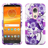 Military Grade Certified TUFF Image Hybrid Armor Case for Motorola Moto E5 Plus - Purple Hibiscus Flower Romance