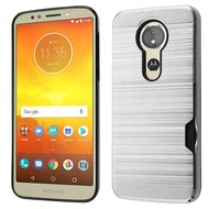 *Sale* ID Card Slot Hybrid Case for Motorola Moto E5 Plus - Silver