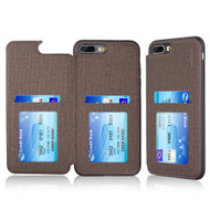 Hybrid Wallet Case with 3 Card Compartment for iPhone 8 Plus / 7 Plus - Brown