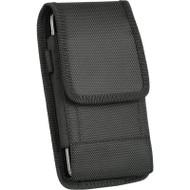 Universal Ballistic Nylon Vertical Hip Pouch Case with Carabiner Clip - Black
