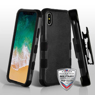 Military Grade Certified TUFF Hybrid Armor Case with Holster for iPhone X - Black