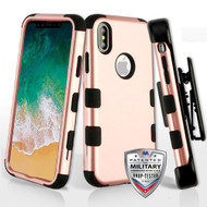 Military Grade Certified TUFF Hybrid Armor Case with Holster for iPhone X - Rose Gold 059