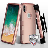 Military Grade Certified TUFF Hybrid Armor Case with Holster for iPhone X - Rose Gold