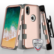 Military Grade Certified TUFF Hybrid Armor Case with Holster for iPhone X - Rose Gold Iron Grey