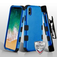 Military Grade Certified TUFF Hybrid Armor Case with Holster for iPhone X - Blue