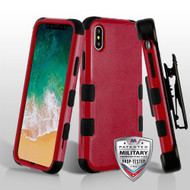 Military Grade Certified TUFF Hybrid Armor Case with Holster for iPhone X - Red