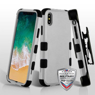 Military Grade Certified TUFF Hybrid Armor Case with Holster for iPhone X - Grey
