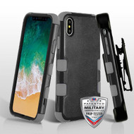 Military Grade Certified TUFF Hybrid Armor Case with Holster for iPhone X - Black Grey