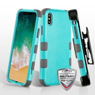 Military Grade Certified TUFF Hybrid Armor Case with Holster for iPhone X - Teal Green Iron Grey