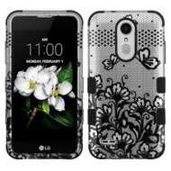 Military Grade TUFF Hybrid Case for LG Aristo 2 / Fortune 2 / K8 (2018) / Tribute Dynasty / Zone 4 - Lace Flowers Black