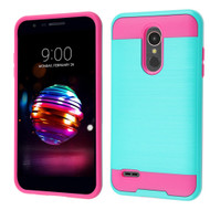 Brushed Coated Hybrid Armor Case for LG K30 - Teal Green Hot Pink