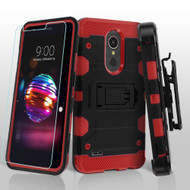 Military Grade Certified Storm Tank Hybrid Case with Holster and Tempered Glass Screen Protector for LG K30 - Black Red