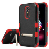 Military Grade Certified TUFF Hybrid Armor Case with Stand for LG K30 - Black Red