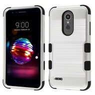 Military Grade Certified Brushed TUFF Hybrid Case for LG K30 - Silver