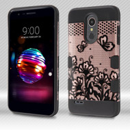Military Grade Certified TUFF Image Trooper Dual Layer Hybrid Armor Case for LG K30 - Lace Flowers Rose Gold