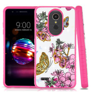 Tough Anti-Shock Hybrid Case for LG K30 - Butterfly and Flowers