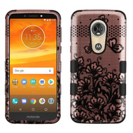 Military Grade Certified TUFF Image Hybrid Armor Case for Motorola Moto E5 Plus - Lace Flowers Rose Gold
