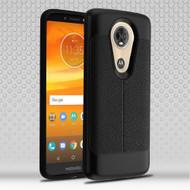 Leather Texture Anti-Shock Hybrid Protection Case for Motorola Moto E5 Plus - Black