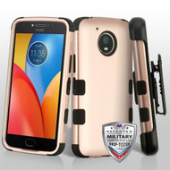 Military Grade Certified TUFF Hybrid Armor Case with Holster for Motorola Moto E4 Plus - Rose Gold
