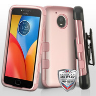 Military Grade Certified TUFF Hybrid Armor Case with Holster for Motorola Moto E4 Plus - Rose Gold 086