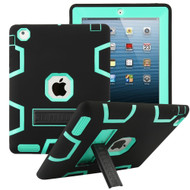 Shock Absorption Heavy Duty Rugged Hybrid Armor Case with Stand for iPad 2, iPad 3 and iPad 4th Generation - Black Teal