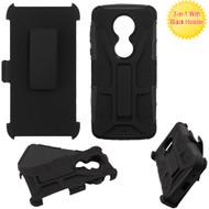 Rugged Hybrid Armor Case and Holster for Motorola Moto E5 Plus  - Black