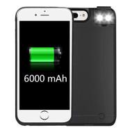 Smart Power Bank Battery Case 6000mAh with Selfie LED Light for iPhone 8 Plus / 7 Plus / 6S Plus / 6 Plus - Black