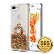 Quicksand Glitter Case with Smart Loop Ring Holder for iPhone 8 Plus / 7 Plus / 6S Plus / 6 Plus - Gold