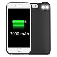 Smart Power Bank Battery Case 3000mAh with Selfie LED Light for iPhone 8 / 7 / 6S / 6 - Black