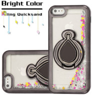 Electroplating Quicksand Glitter Case with Smart Loop Ring Holder for iPhone SE / 5S / 5 - Black Silver