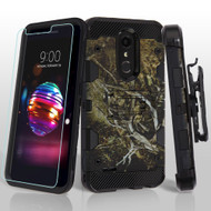 Military Grade Certified Storm Tank Hybrid Case with Holster and Tempered Glass Screen Protector for LG K30 - Tree