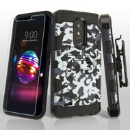 Military Grade Certified Storm Tank Hybrid Case with Holster and Tempered Glass Screen Protector for LG K30 - Camouflage