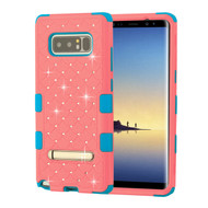 Military Grade Certified TUFF Diamond Hybrid Armor Case with Stand for Samsung Galaxy Note 8 - Pink Tropical Teal