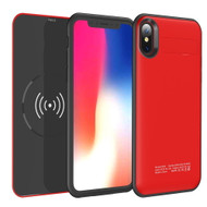 3-IN-1 Power Bank Battery Case 5000mAh with Removable Wireless Qi Charging Pad for iPhone X - Red