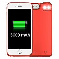 Smart Power Bank Battery Case 3000mAh with Selfie LED Light for iPhone 8 / 7 / 6S / 6 - Red