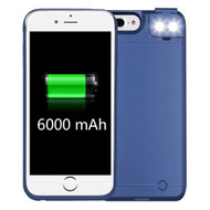 Smart Power Bank Battery Case 6000mAh with Selfie LED Light for iPhone 8 Plus / 7 Plus / 6S Plus / 6 Plus - Blue